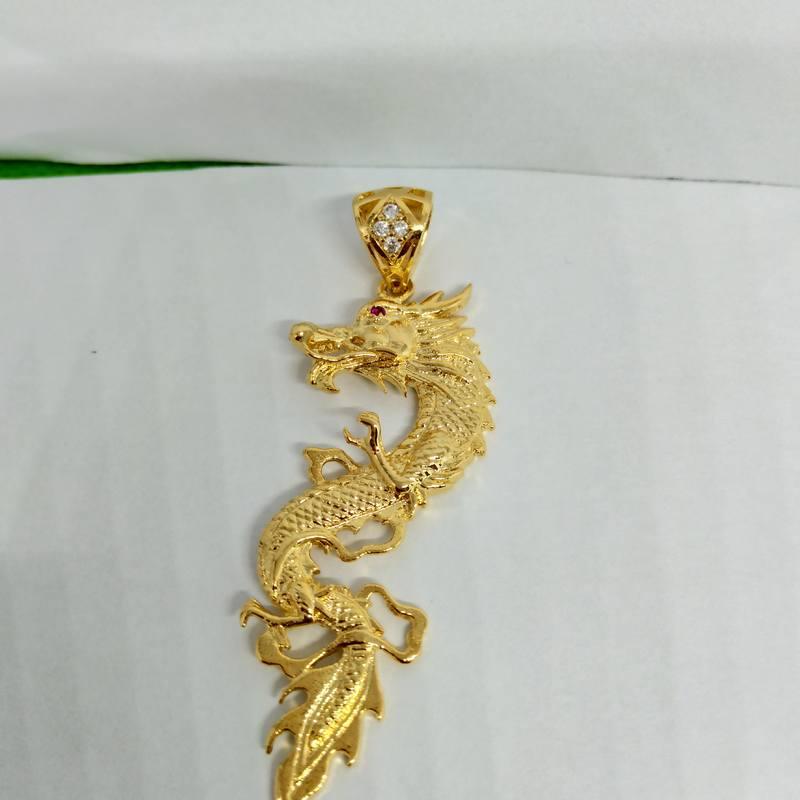 Mặt dây chuyền mạ vàng rồng nguyên con
