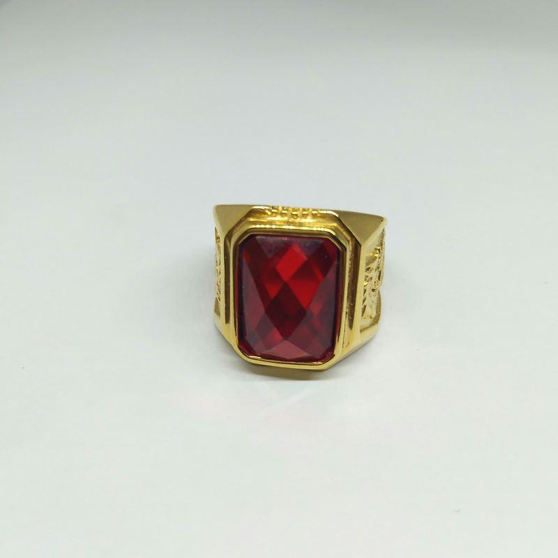 Nhẫn nam mạ vàng chạm rồng khắc đá đỏ bản vừa BNN