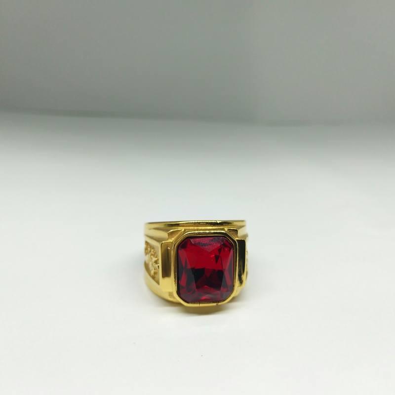Nhẫn nam mạ vàng rồng đá đỏ Titan