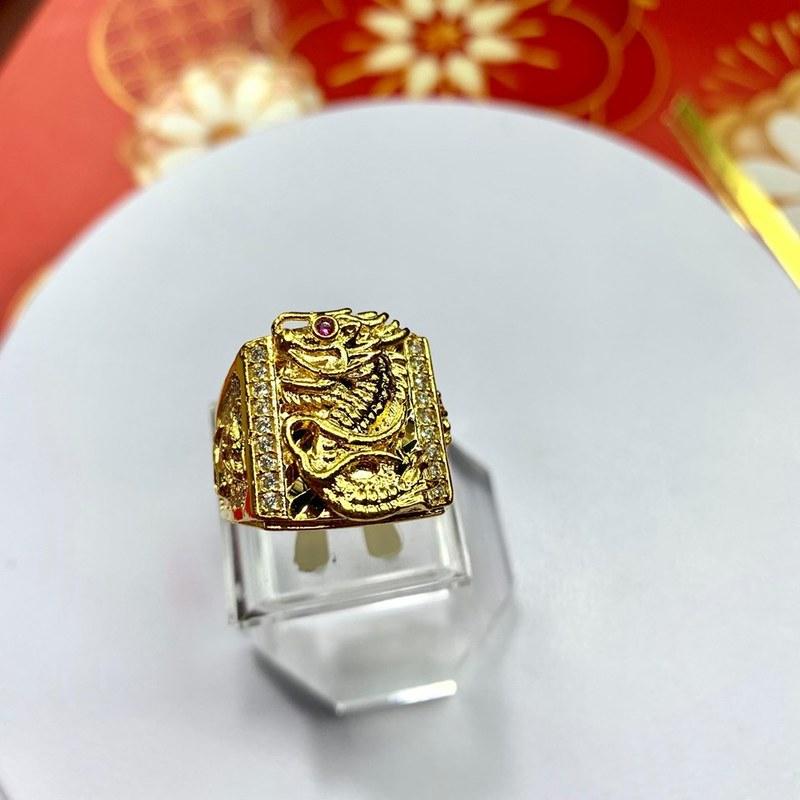 Nhẫn rồng bản vuông mạ vàng Trang sức nam BNN TPHCM