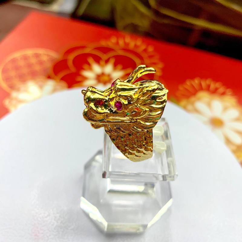 Nhẫn mạ vàng đầu lân Trang sức nam BNN TPHCM