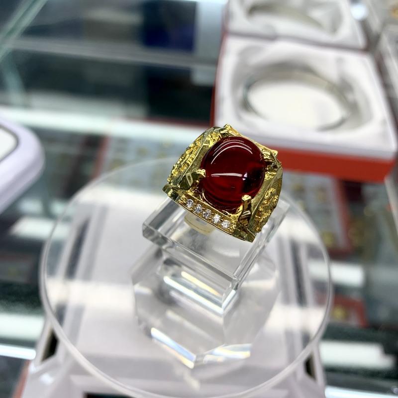 Nhẫn mạ vàng đá đỏ cho nam xi vàng 18k – trang sức bnn