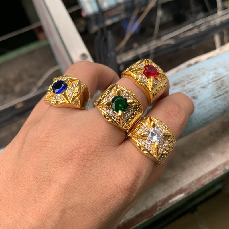 Nhẫn màu mạ vàng nam phong thủy xi mạ vàng trang sức bnn