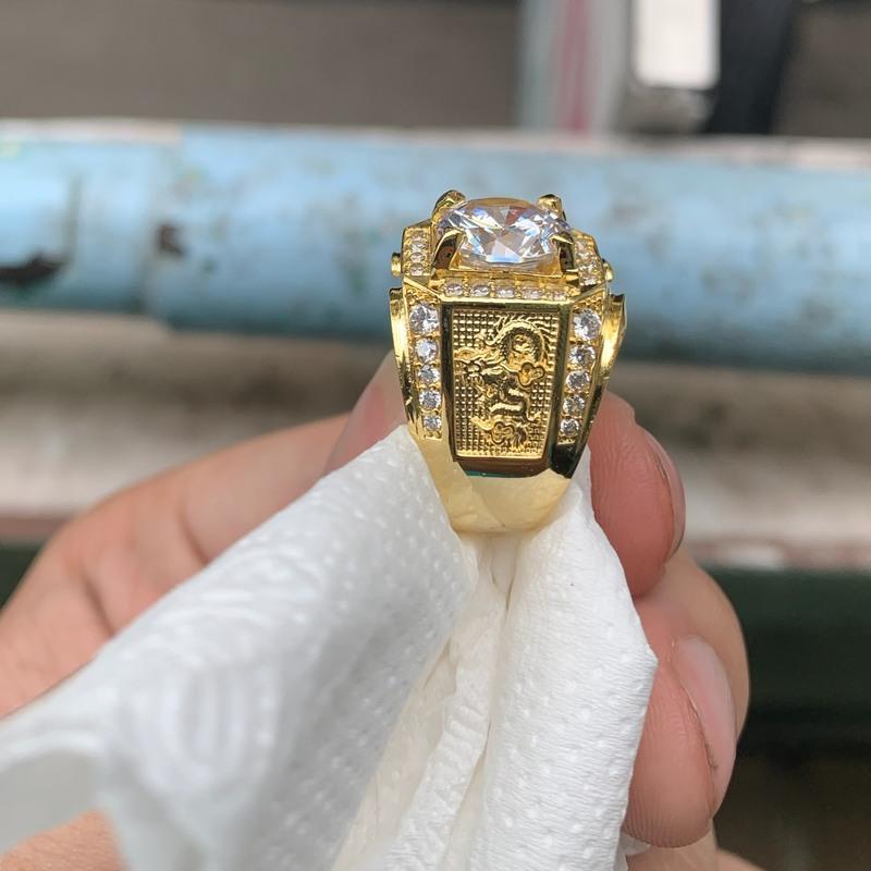 nhẫn nam đá trắng rồng mạ vàng trang sức nam BNN
