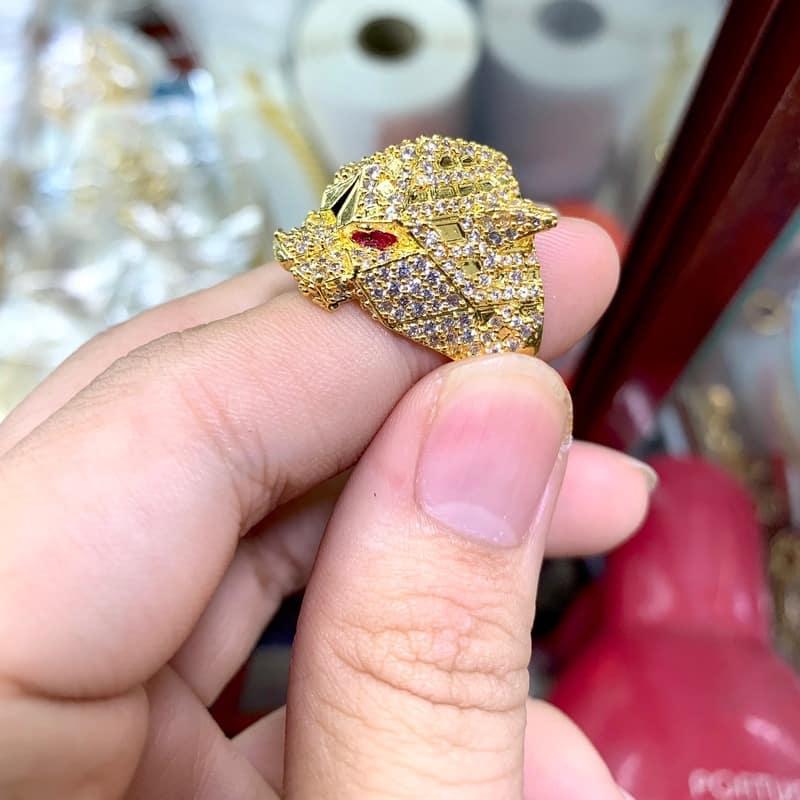 Nhẫn Sói Báo của nam mạ vàng xi vàng BNN