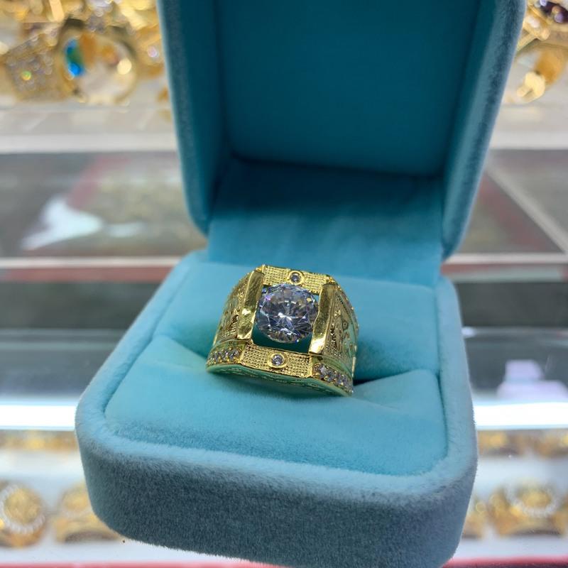 Nhẫn nam đính đá mạ vàng xi mạ trang sức BNN