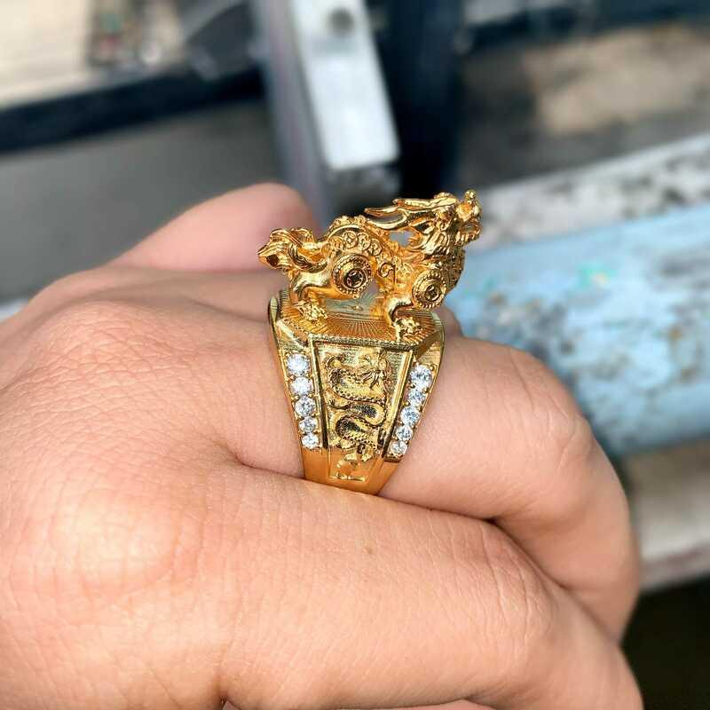 Nhẫn mạ vàng 18k Kỳ Lân  – Trang sức nam mạ vàng BNN