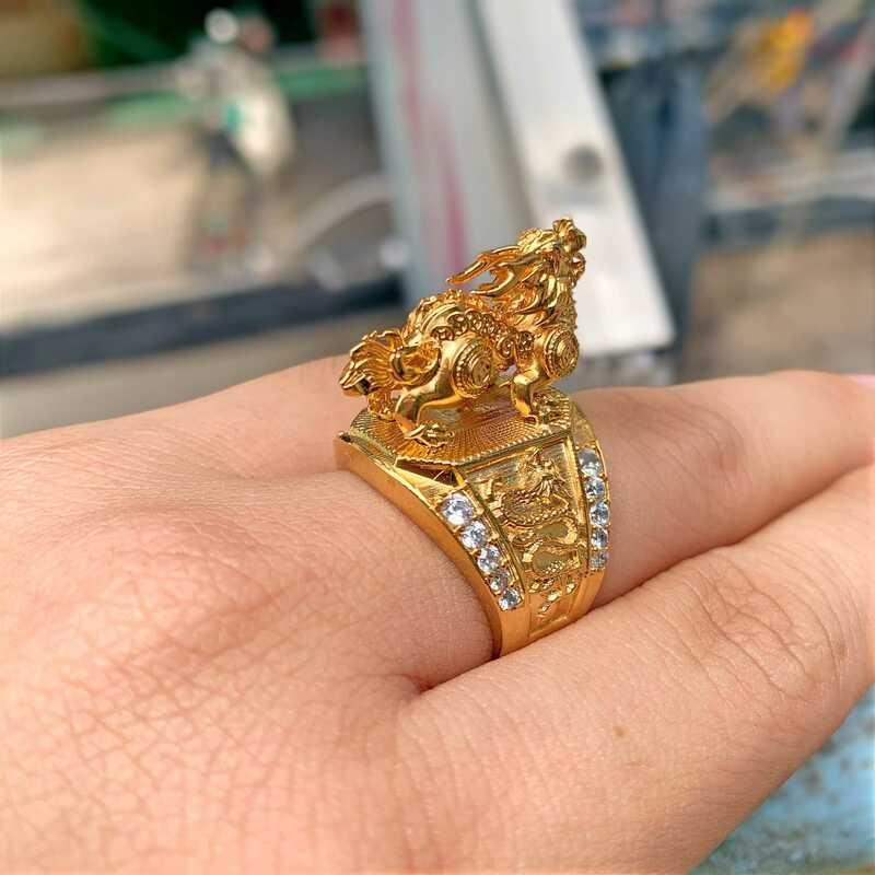 Nhẫn mạ vàng 18k Kỳ Lân