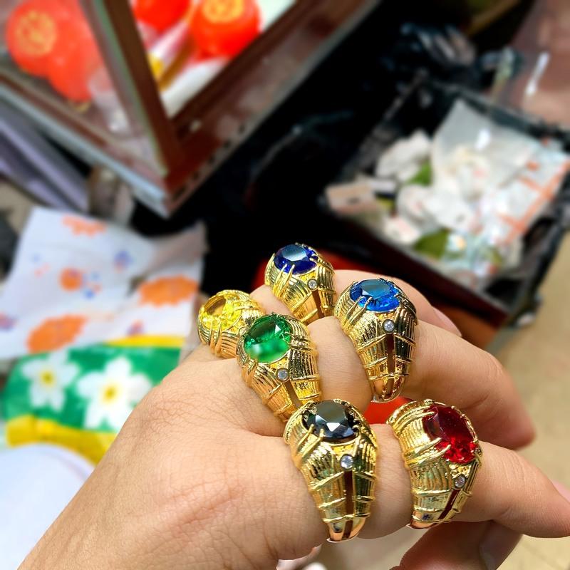 Nhẫn nam đá phong thủy mạ vàng hột màu đỏ,xanh,vàng,đen