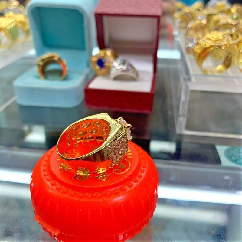 nhẫn nam kim cương nhân tạo mạ vàng 18k hcm - đá xoàn hột CZ