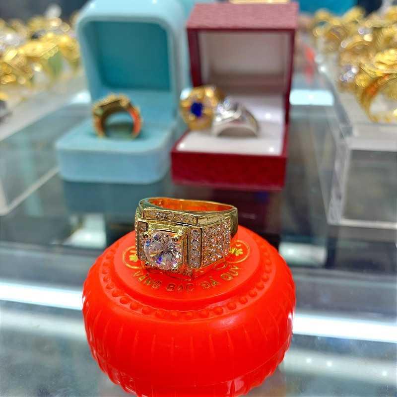 Nhẫn mạ vàng nam xoàn – đá cz đá tấm đính nhiều hột đá màu