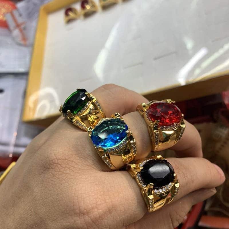 Nhẫn mạ vàng đính đá may mắn– địa chỉ bán nhẫn phong thủy mạ vàng