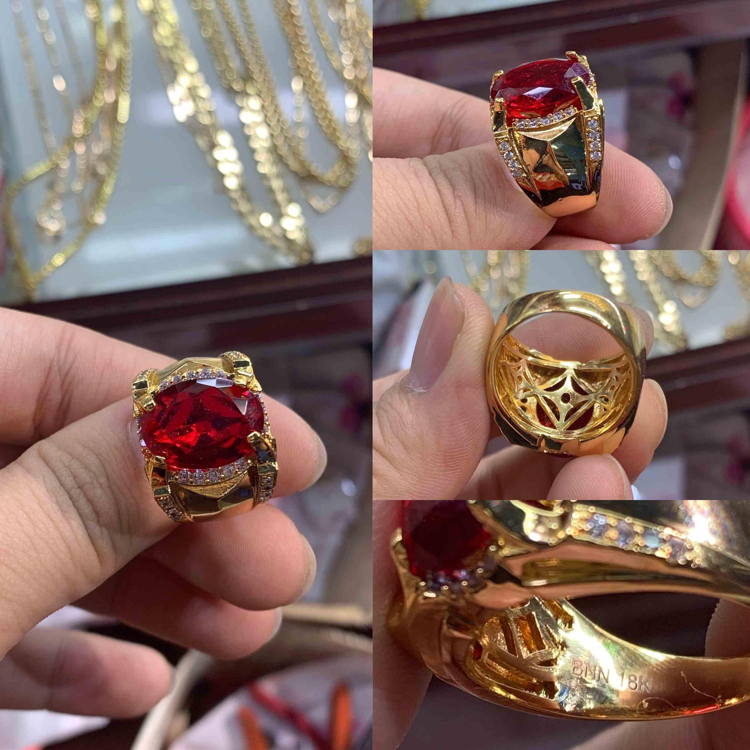 nhẫn mạ vàng phong thủy đính đá đỏ