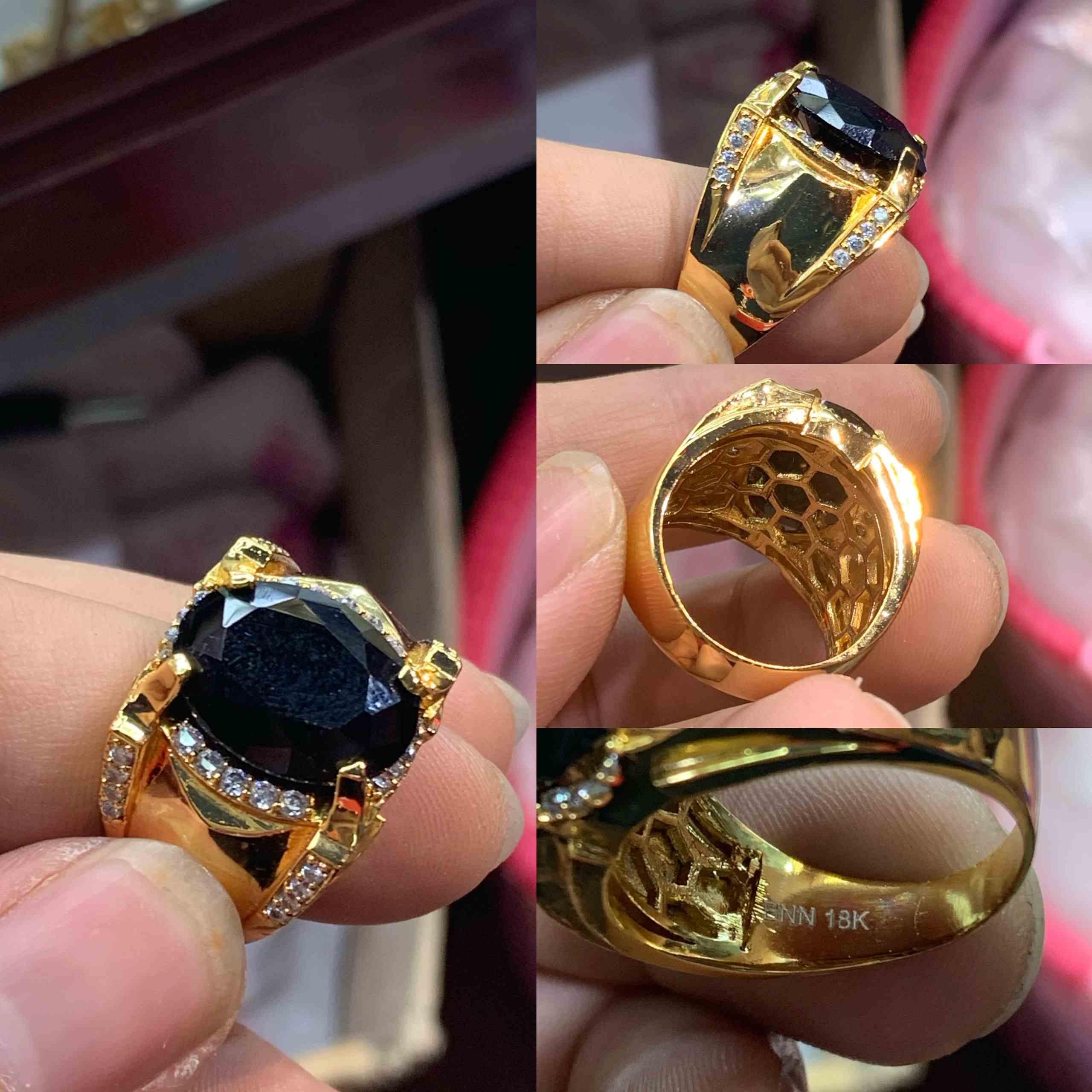 nhẫn mạ vàng phong thủy đính đá đen