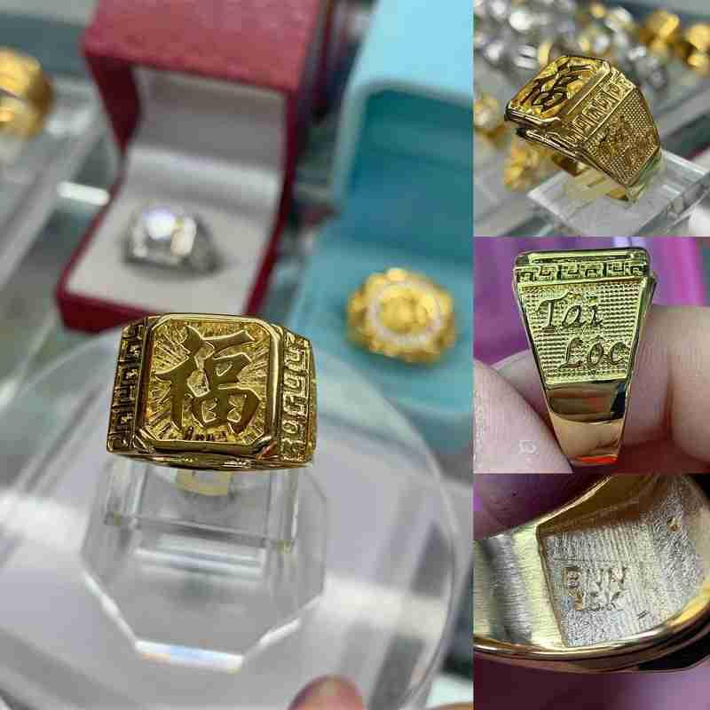 Nhẫn mạ vàng chữ trơn phát tài phát lộc – Nhẫn nam mới mạ vàng